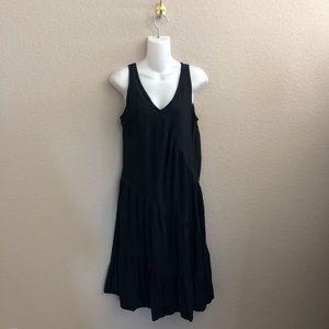 CP Shades Black Irish Linen Sleeveless Midi Dress